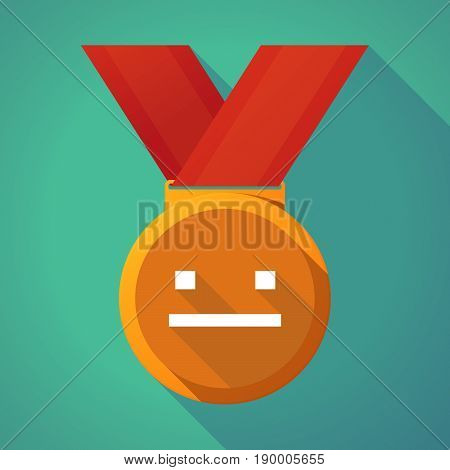 Long Shadow Medal With A Emotionless Text Face