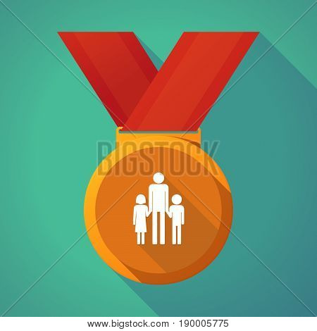 Long Shadow Medal With A Male Single Parent Family Pictogram