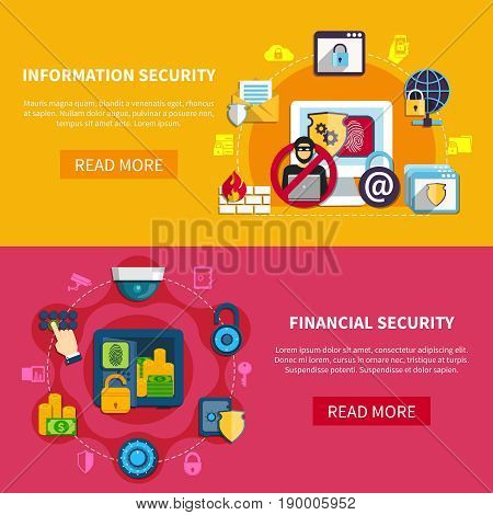 Security horizontal banners set with information and financial security symbols flat isolated vector illustration
