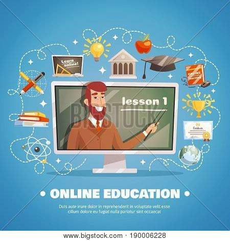 Online education design concept with lecturer at blackboard and distance learning icons set flat vector illustration