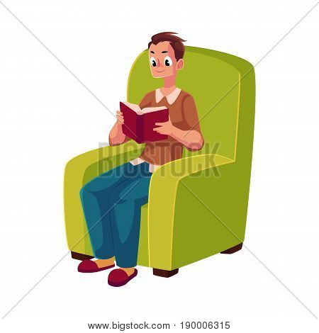Young man reading book sitting in comfortable armchair, wearing slippers, cartoon vector illustration isolated on white background. Full length portrait of man, guy reading book sitting in armchair