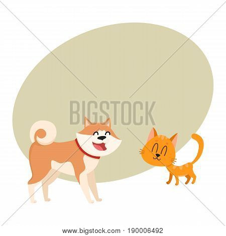 Akita inu dog and red cat, kitten characters, love, friendship concept, cartoon vector illustration with space for text. Lovely akita dog and red cat characters, love, friendship, tenderness