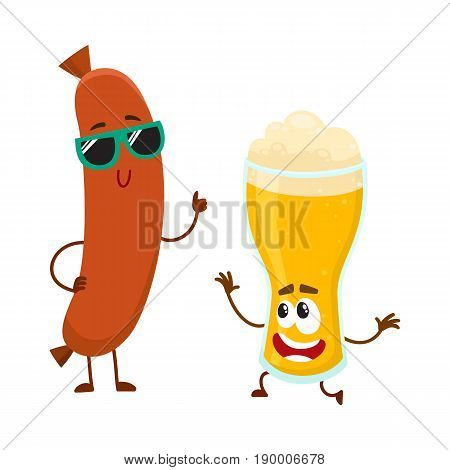 Funny beer glass and frankfurter sausage characters having fun together, cartoon vector illustration isolated on white background. Funny smiling beer glass character and sausage poiting to it