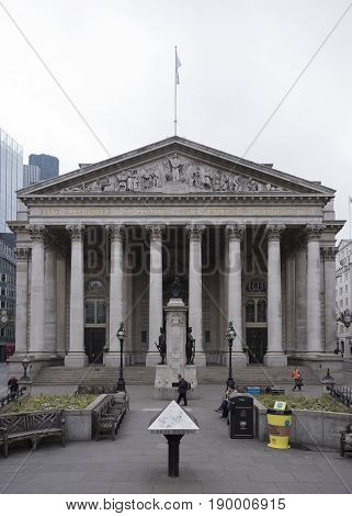 london united kingdom 6 may 2017: neo classical building of royal exchange london