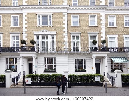London United Kingdom 7 may 2017: houses with white columns on thurloe street in london kensington