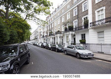 London United Kingdom 7 may 2017: trees and street in london kensington