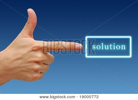 Hand showing sign for Solution