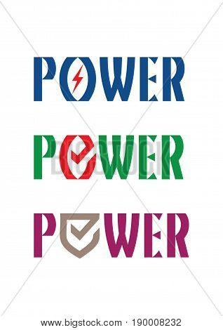 The word POWER with stylized shield letter O. Vector logo and sign.