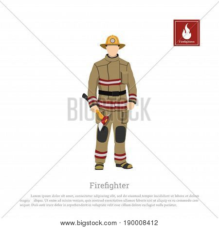 Firefighter with an axe on white background. Image of a fireman in a flat style. Vector illustration