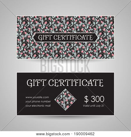 floral style gift certificate template. Vector illustration