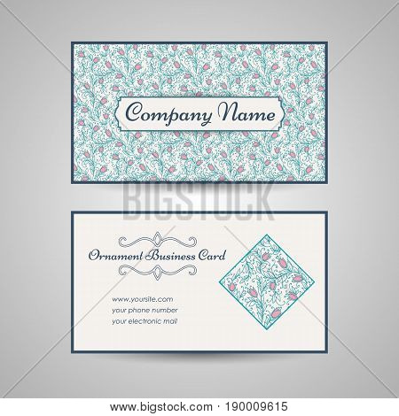 floral style business card template. Vector illustration