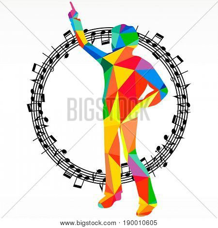 Polygon silhouette dancing human and melody circle, vector music battle party background.