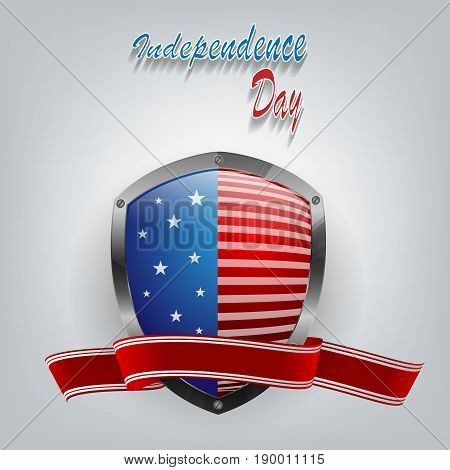 Independence day vector background with shield and ribbon. Bright template for holiday design. Elements for illustration. Eps10