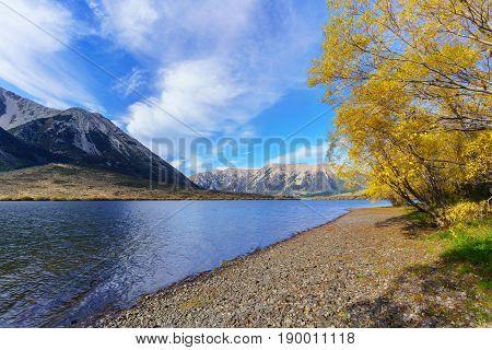 Beautiful scenery of Lake Pearson (Moana Rua) in Autumn Arthur's pass National Park South Island of New Zealand