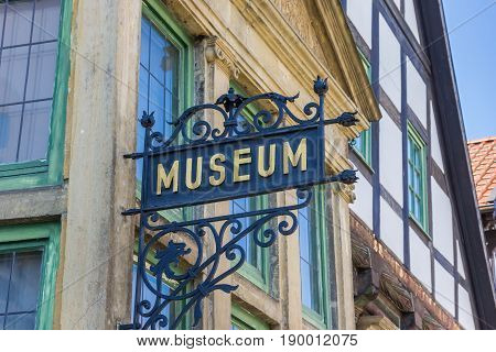 BUCKEBURG, GERMANY - MAY 22, 2017: Iron sign at the facade of the Museum Buckeburg in Lower Saxony, Germany
