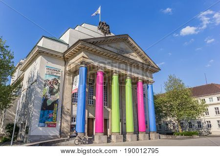 DETMOLD, GERMANY - MAY 22, 2017: Colorful city theatre in the center of Detmold, Germany