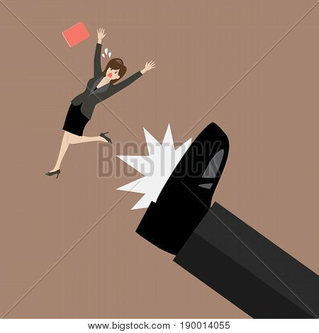 Business woman kicked by her boss big foot. Vector illustration
