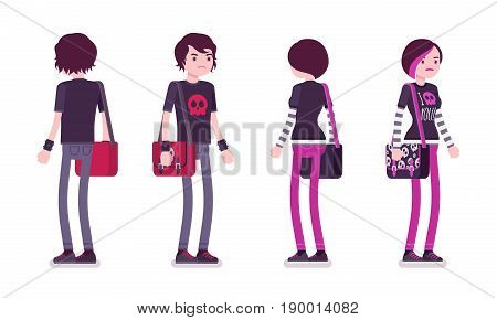 Emo boy and girl, true subculture look, skinny pants, black t-shirt, messenger bag, choppy hairstyle, standing, front and rear view. Vector flat style cartoon illustration, isolated, white background