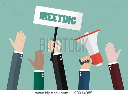 People attending meeting. Vector illustration cartoon concept