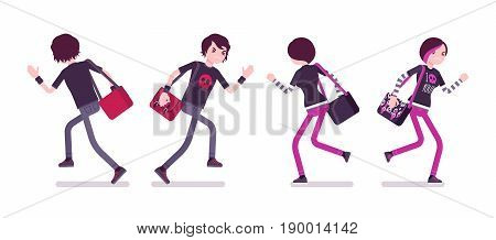 Emo boy and girl, true subculture look, skinny pants, black t-shirt, messenger bag, choppy hairstyle, running, front and rear view. Vector flat style cartoon illustration, isolated, white background