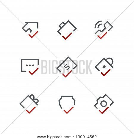 Checkmark outline vector icon set - house, briefcase, phone, chat, dollar, lock, gift, shield and camera with tick or checkbox symbols. Contacts, business and realty signs.
