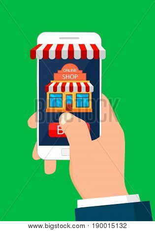 Hand holding smartphone with app mobile shopping. Online shopping. Mobile shopping concept.