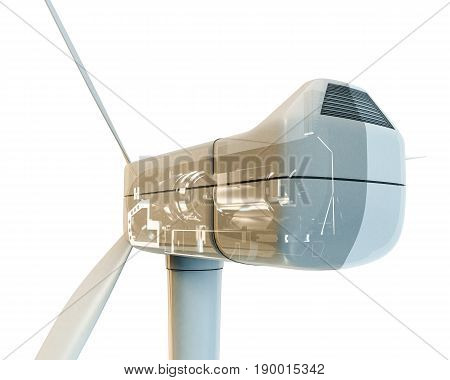 3d illustration of a wind turbine isolated on white background