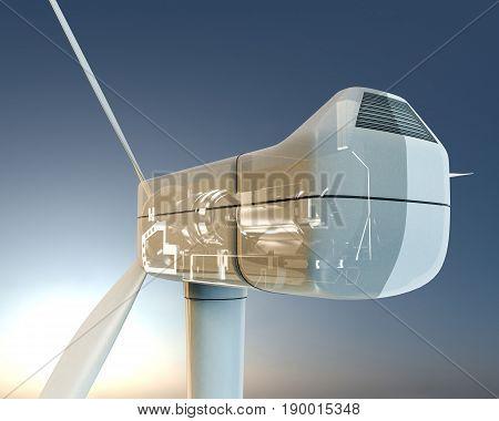 3d illustration of a modern wind turbine