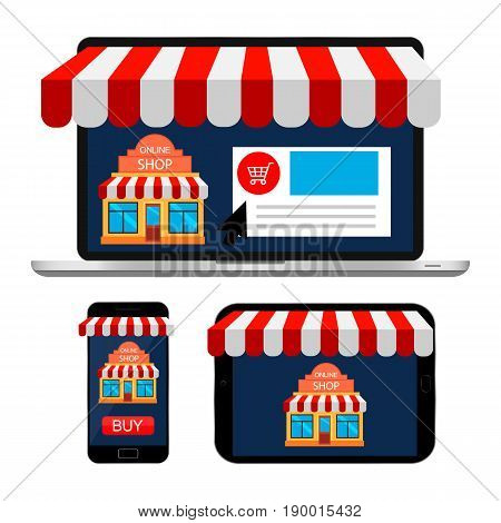Online shopping. Laptop, smartphone, tablet with awning isolated on white background. Online shopping. Mobile shopping concept. Vector illustration.
