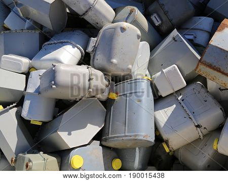 Heap Of Old Gas Meters In The Storage Of Polluting Materials
