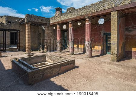 Ruins Of Herculaneum, Ancient Roman Town Destroyed By Vesuvius Eruption