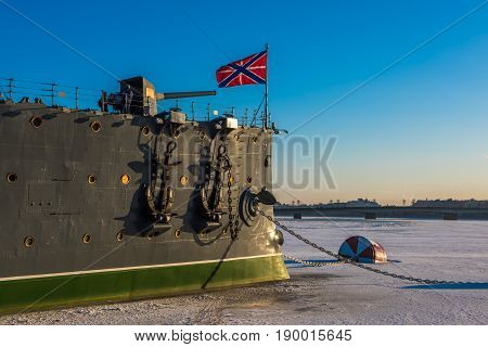 Linear cruiser Aurora the symbol of the October revolution Saint Petersburg Russia