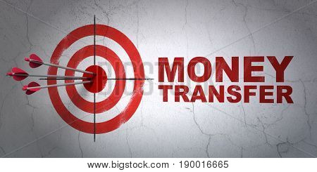 Success money concept: arrows hitting the center of target, Red Money Transfer on wall background, 3D rendering
