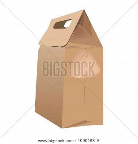 Brown paper bag for food packing with handles isolated on white background. Recycle pack made of carton with locking element for storing lunches. Environment saving thing close up vector illustration.