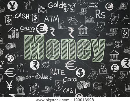 Currency concept: Chalk Green text Money on School board background with  Hand Drawn Finance Icons, School Board