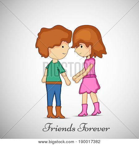 illustration of boy and girl with friends forever text