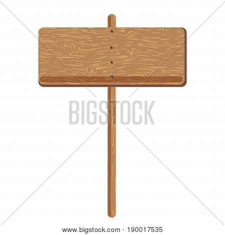 Wooden signage board or billboard and advertising sign pole template. Wood media construction with blank space for messages or posters in retro or cartoon style. Vector isolated mockup icon