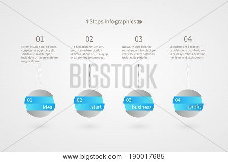 Four steps infographics. Isolated 1 2 3 4 number symbol. Blue gray white vector sign. Idea Start Business Profit plan illustration icons for marketing presentation project web design template