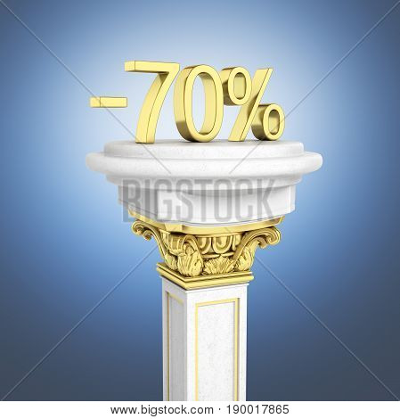 Gold Text 70 Percent Off Standing On The Pedestal Isolated On Dark Blue Gradient Background 3D Rende