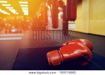 close-up Boxing gloves in the ring. high contrast and monochrome color tone.
