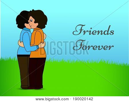 illustration of two boys with friends forever text