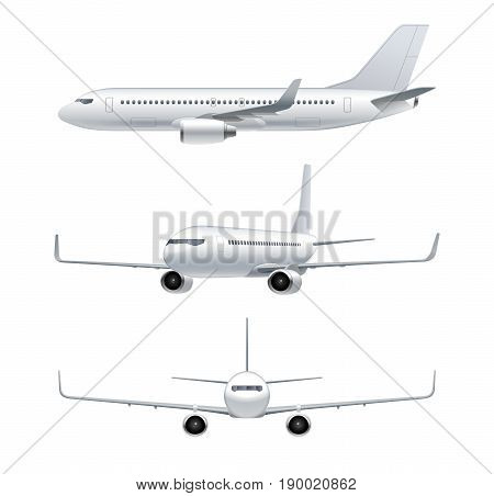 Flying airplane jet aircraft airliner. Front side 3d perspective view of detailed passenger air plane isolated on white background. Vector illustration