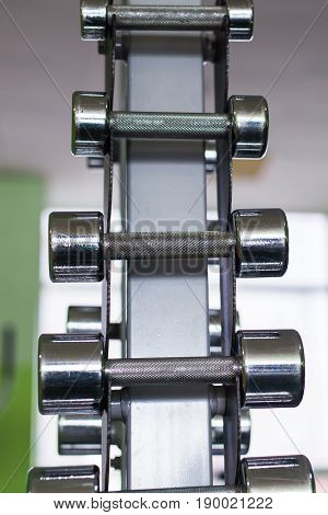 dumbbells in modern sports club. Weight Training Equipment.