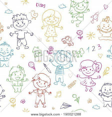 Cheerful children seamless pattern painted by colorful pencils with kids elements, drawings, paintings. Girls and boys are on the white background in the linear design. Vector illustration
