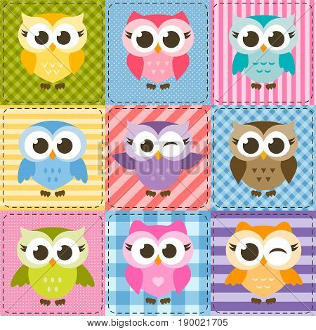 patchwork background with colorful funny owls and owlets