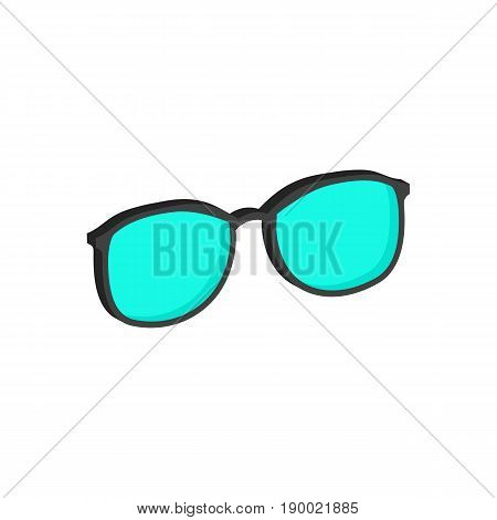 Cyan Glasses, Eyeglasses Symbol. Flat Isometric Icon Or Logo. 3D Style Pictogram For Web Design, Ui,