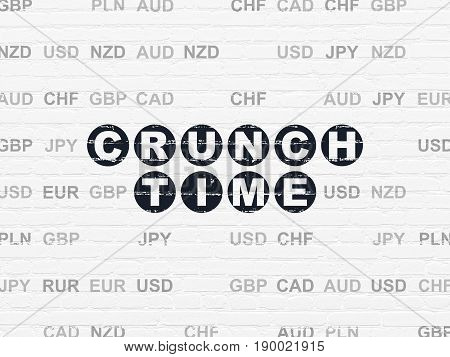 Finance concept: Painted black text Crunch Time on White Brick wall background with Currency