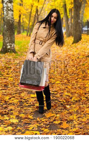 beautiful elegant woman walking in the park with shopping