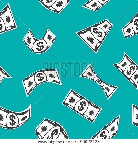 Blue Money Seamless Pattern