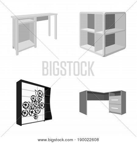 Dressing table, corner shelves, computer desk, wardrobe with glass. Bedroom furniture set collection icons in monocrome style vector symbol stock illustration .